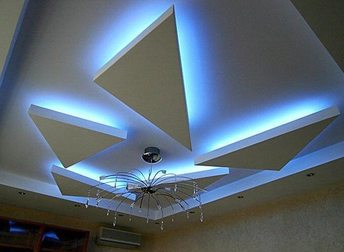подсветка фигурного потолка