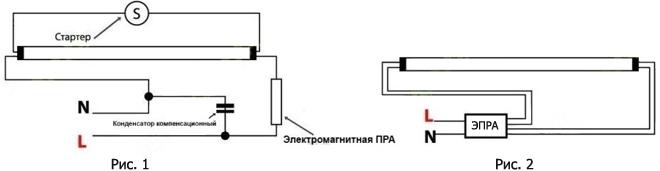 схема подключения люминесцентных ламп Т8