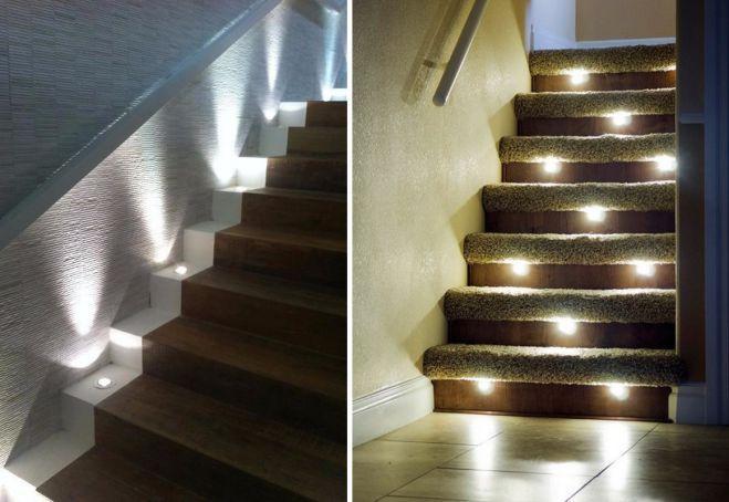 Подсветка ступеней точечными светильниками