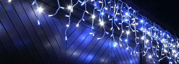 светодиодная бахрома на улице
